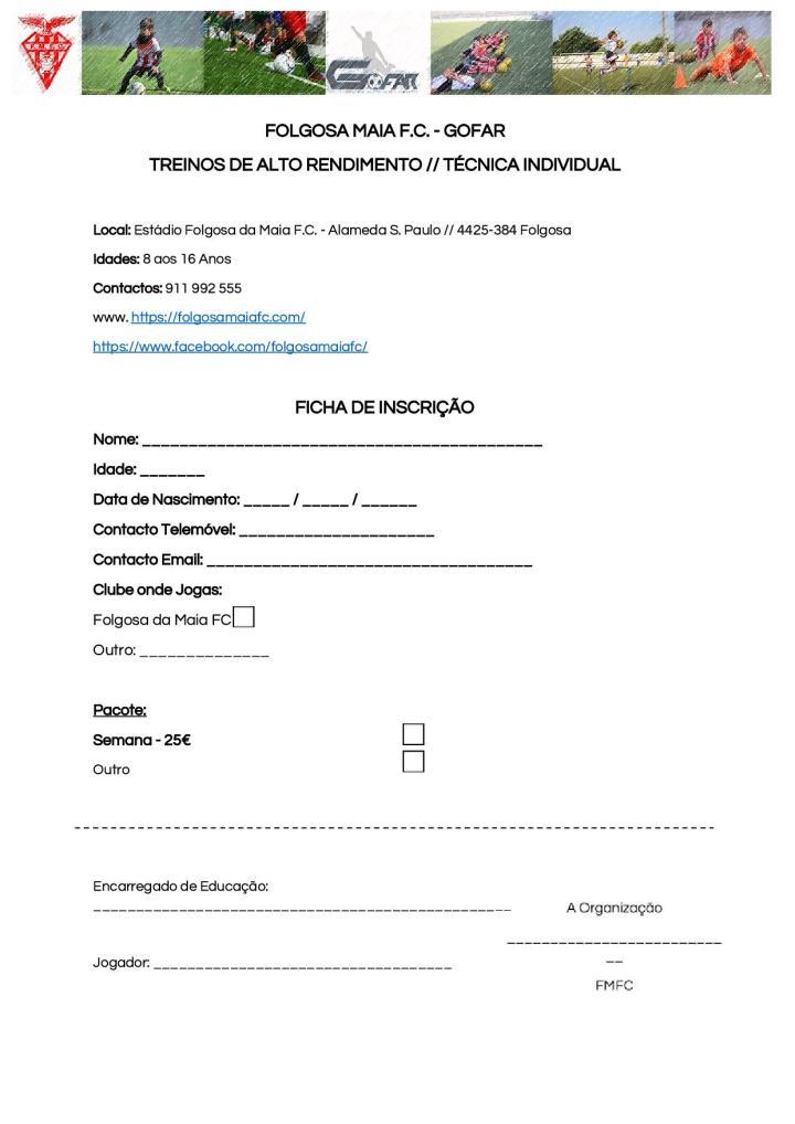 Ficha Inscrição - Treinos Alto Rendimento